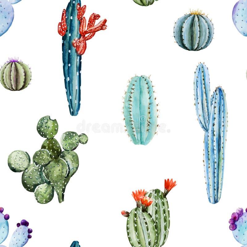 Watercolor cactus pattern stock illustration