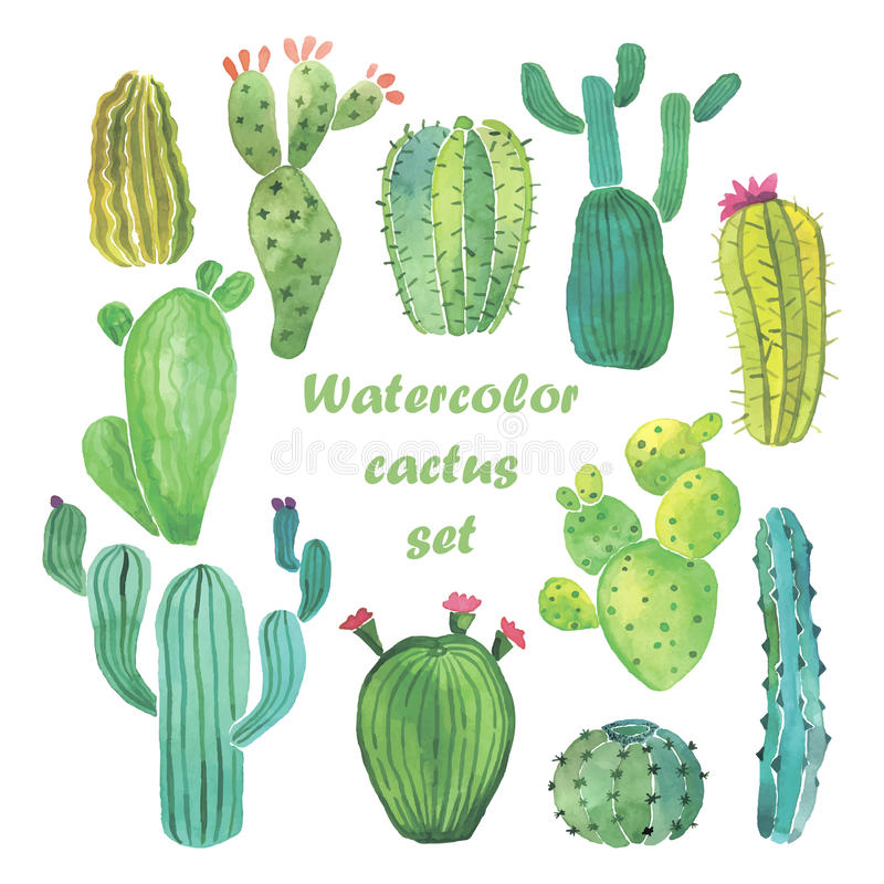 Free Watercolor Cactus Set Stock Image - 55602381