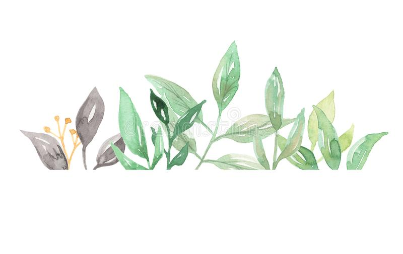 Watercolor border greenery foliage leaves leaf green frame for Watercolor greenery