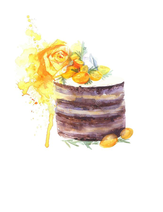 Watercolor cake picture. Nwatercolor image of a chocolate cake with a flower and a spray vector illustration