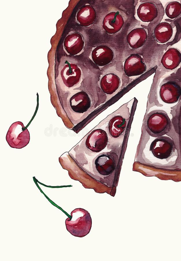Watercolor cake pie with chokolate and cherry stock illustration