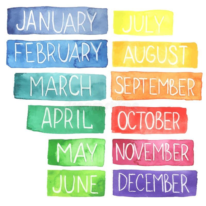 Watercolor calendar vector illustration