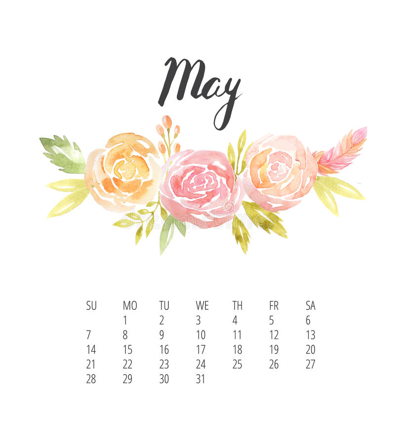 Watercolor Calendar Template For May 2017 Year Stock Illustration