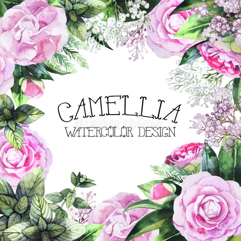 Watercolor camellia design stock illustration