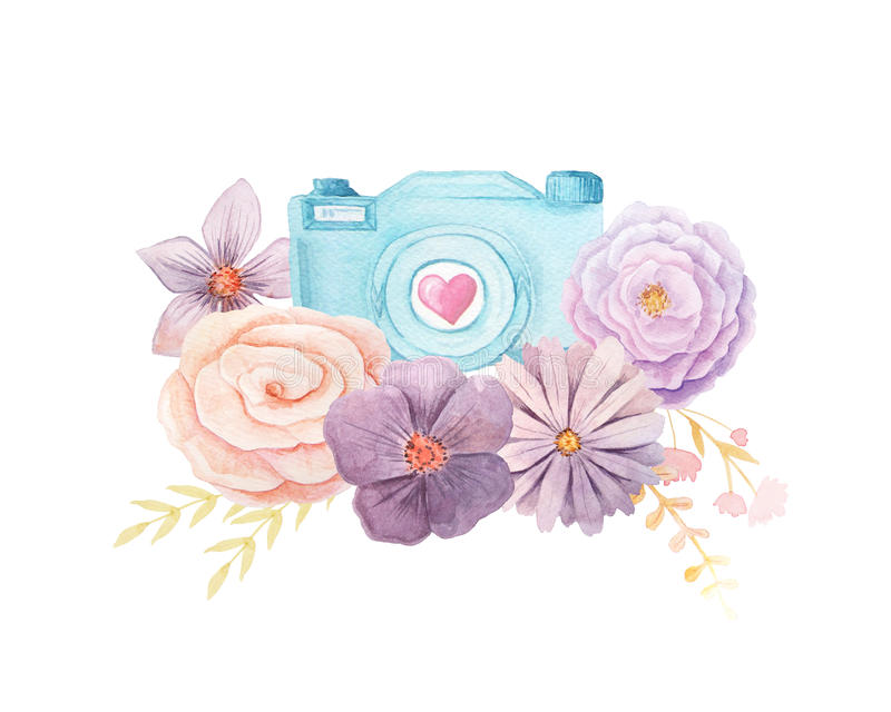 Watercolor camera and flowers vector illustration