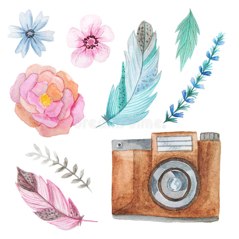 Watercolor camera and flowers stock illustration
