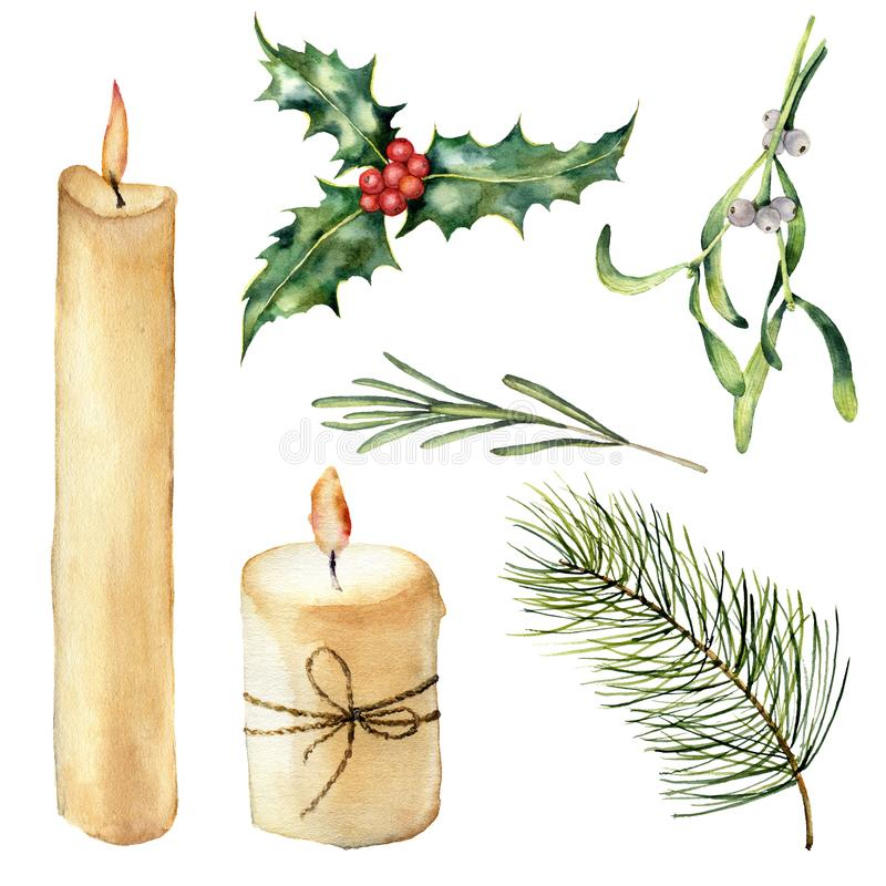 Watercolor candle with decor set. Hand painted candle, holly, mistletoe rosemary, christmas tree branch isolated on. White background. Christmas botanical clip stock illustration