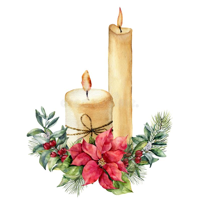 Watercolor candles with Christmas floral composition. Hand painted fir branch, snowberry, pine cone, poinsettia, holly. Mistletoe isolated on white background stock illustration