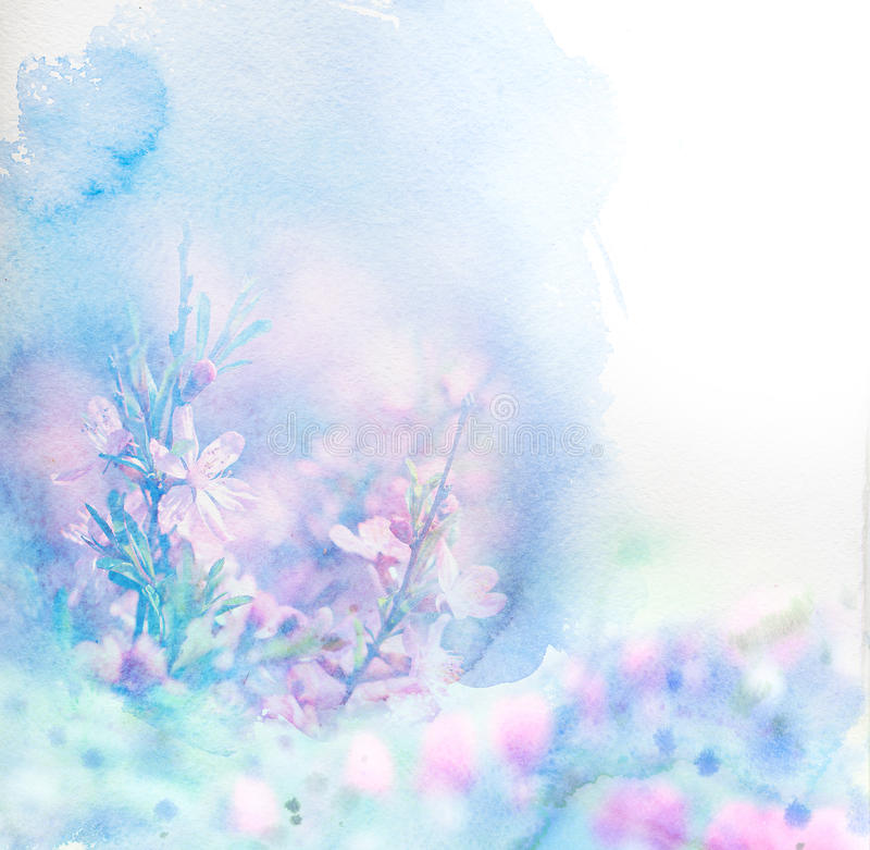 Watercolor card with beautiful flower stock photos