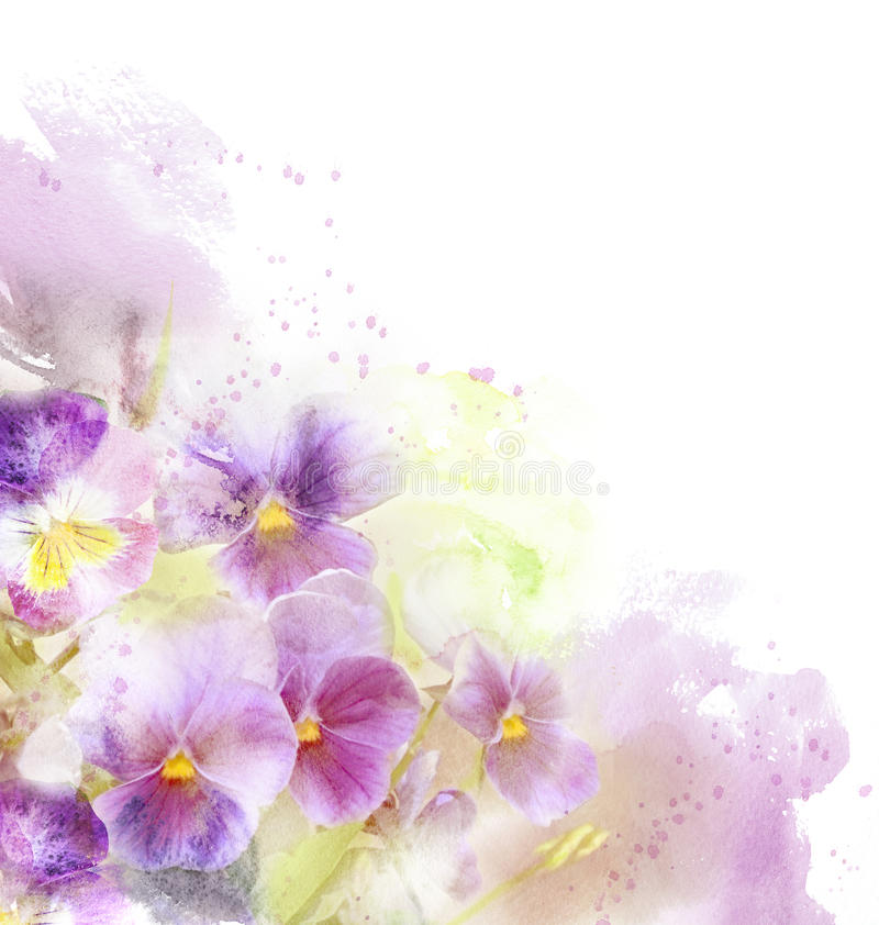 Watercolor card with beautiful flower royalty free stock image