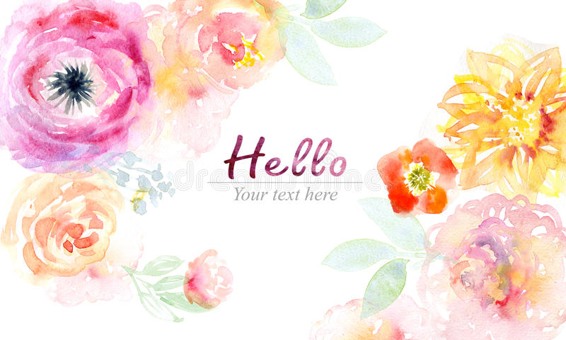 Watercolor card with beautiful flowers vector illustration
