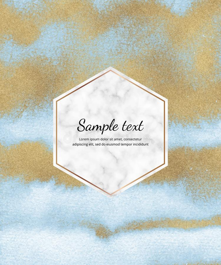 Watercolor card with blue and golden glitter foil texture, marble hexagon frame. Trendy templates for banner, flyer, poster, save. The date, greeting royalty free stock photos