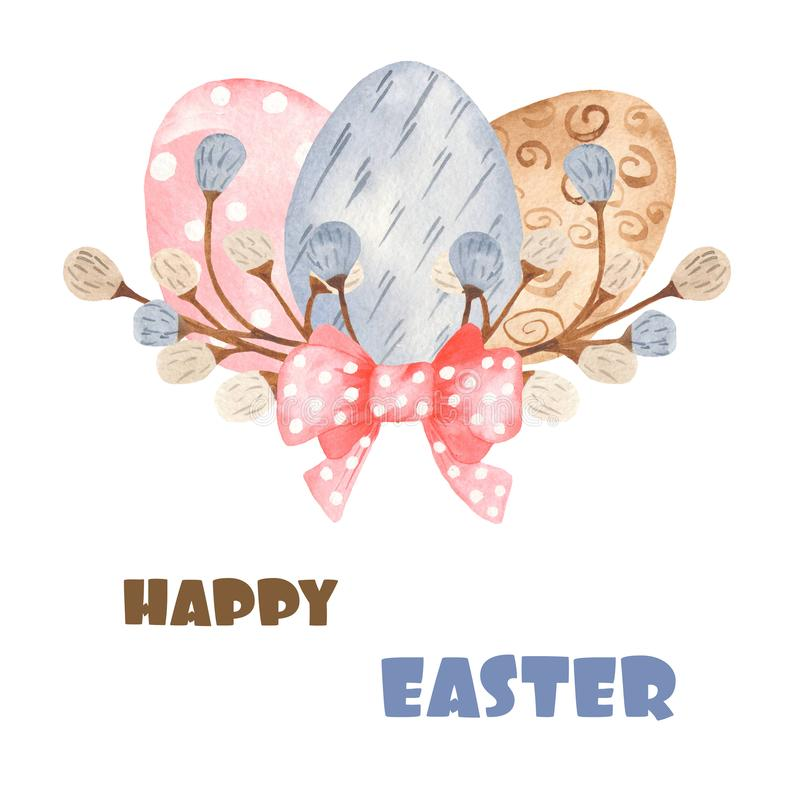 Watercolor card with colorful Easter eggs and willow. vector illustration