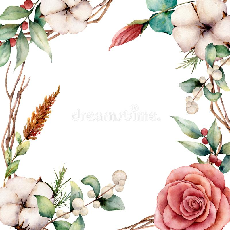 Watercolor card with cotton and flowers. Hand painted tree border with cotton, branch, dahlia, berries and leaves. Lagurus isolated on white background vector illustration