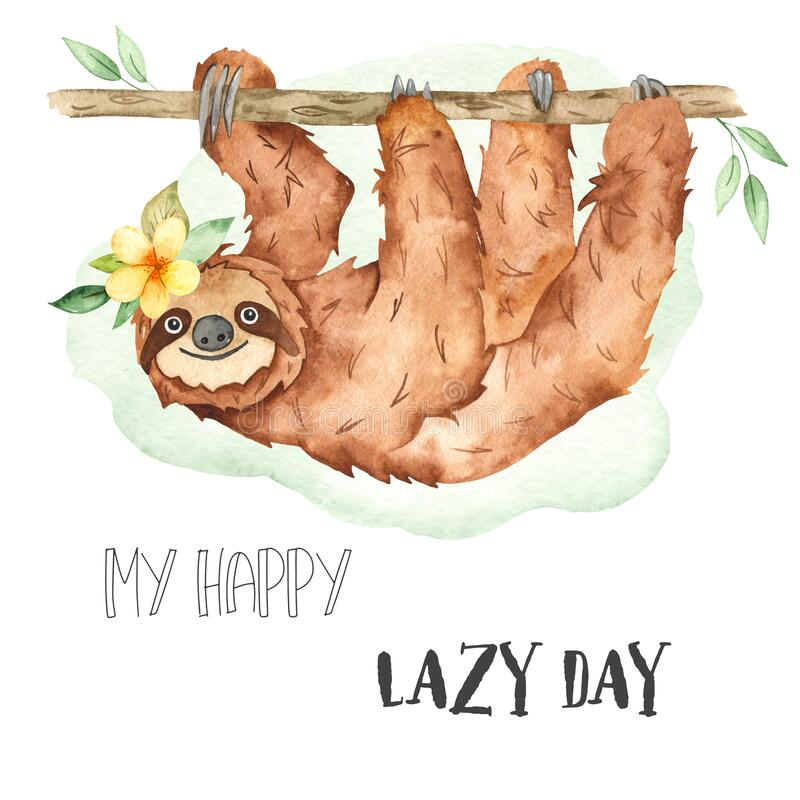Watercolor card with cute animal sloth hanging on a tree. Cute cartoon animal sloth hanging on a tree. Watercolor card vector illustration