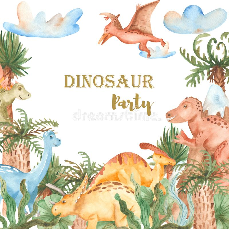 Watercolor card with cute cartoon dinosaurs. Watercolor card with cute dinosaurs. Illustration with prehistoric characters, plants, palm trees for baby design stock illustration