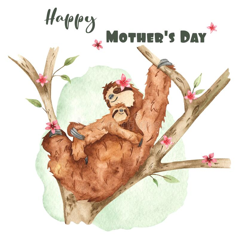 Watercolor card with cute mom and baby sloth for Mother`s Day. Cute mom and baby sloth for Mother`s Day. Watercolor card stock illustration