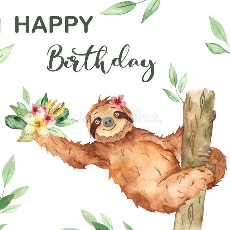 Watercolor card with a cute sloth with flowers for a birthday. Cute cartoon sloth with flowers for a Birthday. Watercolor card vector illustration