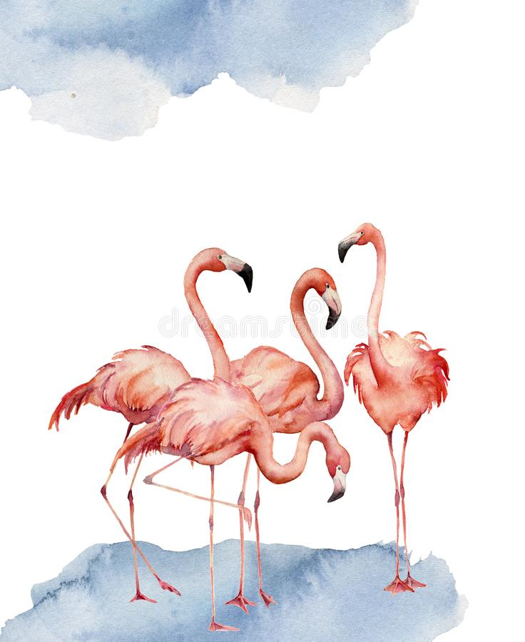 Watercolor card with dancing flamingo. Hand painted print with exotic bird isolated on white background. Tropical royalty free illustration