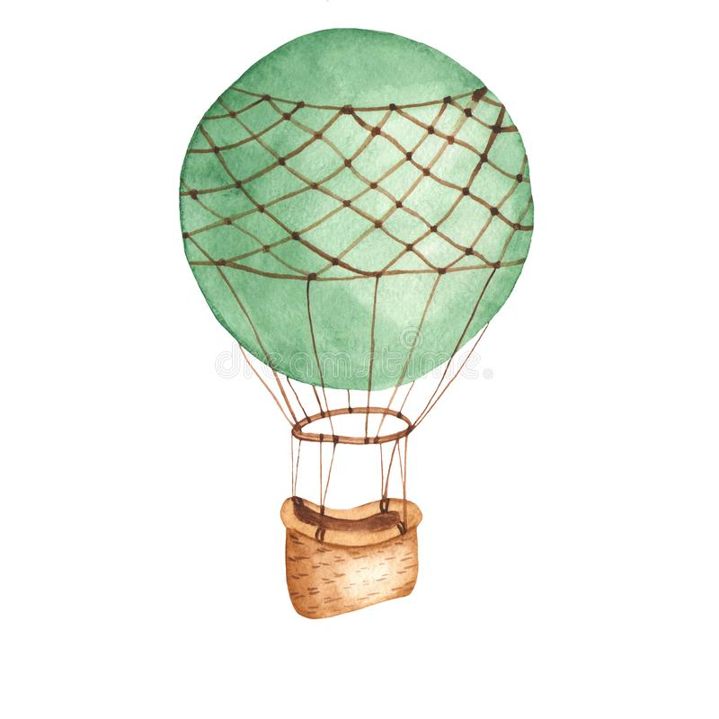 Watercolor card with hot air balloon. royalty free illustration