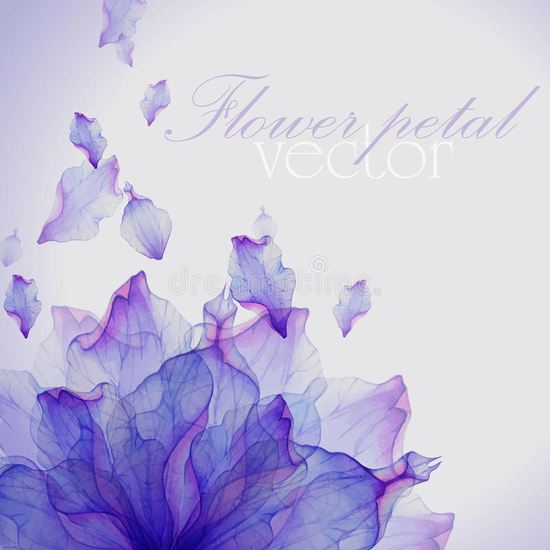 Watercolor card with Purple flower petal royalty free illustration