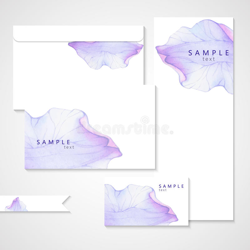 Watercolor card with Purple flower petal. Vectorized watercolor drawing royalty free illustration
