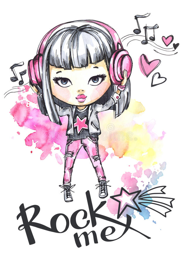 Free Watercolor Card Rock Girl With Headphones. Calligraphy Words Rock Me. Royalty Free Stock Photo - 95634665