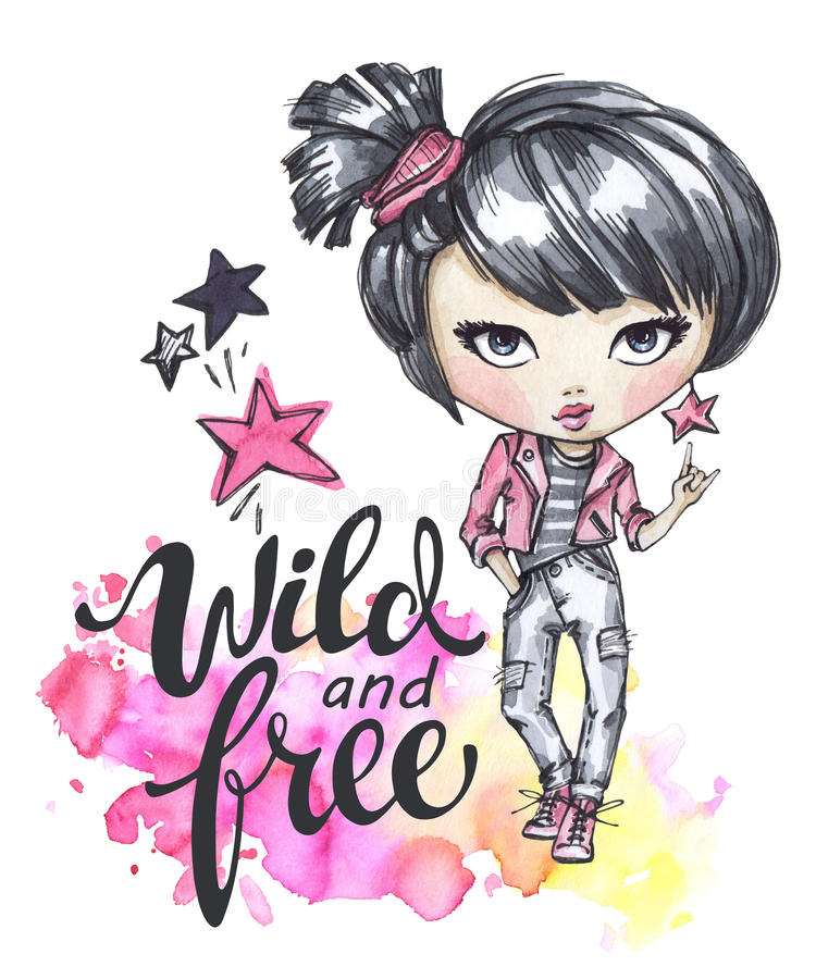 Watercolor card with rocker girl. Calligraphy words Wild and Free. Hand drawn bright illustration. Watercolor card with rocker girl. Calligraphy words Wild and royalty free illustration