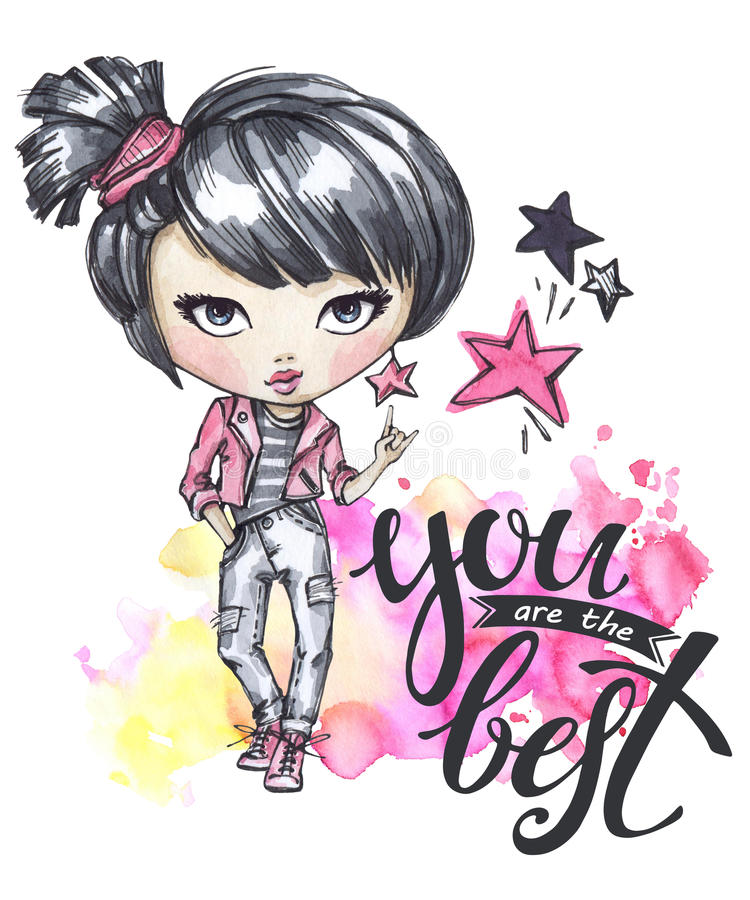 Watercolor card with rocker girl. Calligraphy words You are the Best. Hand drawn bright illustration. Watercolor card with rocker girl. Calligraphy words You vector illustration