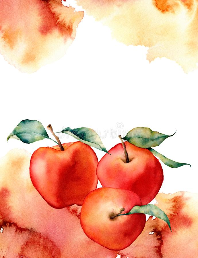 Watercolor card with splash and apple on white background.The color splashing in the paper.It is a hand drawn stock illustration