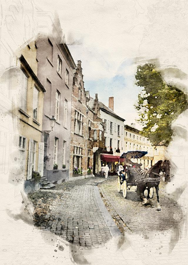 Watercolor Carriage in Bruges. Watercolor illustration of a Horse carriage going through the old town of Bruges, Belgium vector illustration