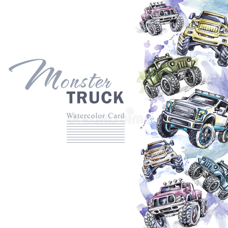 Watercolor cars vertical border. Cartoon Monster Trucks frame. Colorful Extreme Sports background. 4x4. Off Road. Man`s vector illustration