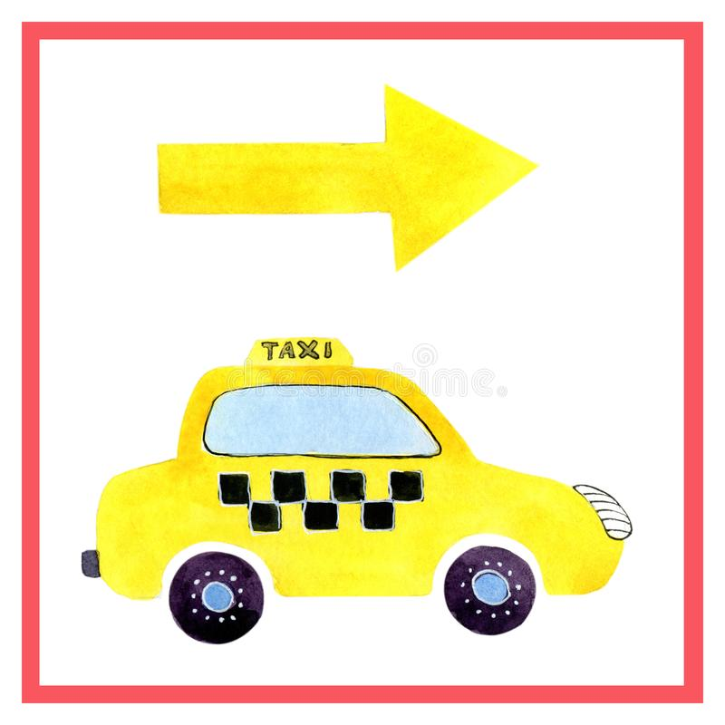 Watercolor cartoon car taxi. Design of children`s clothes, books, scrapbooking, invitations, greetings stock illustration