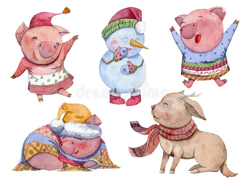 Watercolor cartoon characters set. Happy New Year. Cute pigs, snowman and deer. Chinese symbol of the 2019 year. Isolated elements royalty free illustration