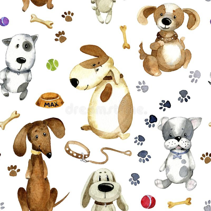 Watercolor cartoon illustration. Seamless pattern of cute cartoon dogs and theirs accessories royalty free illustration