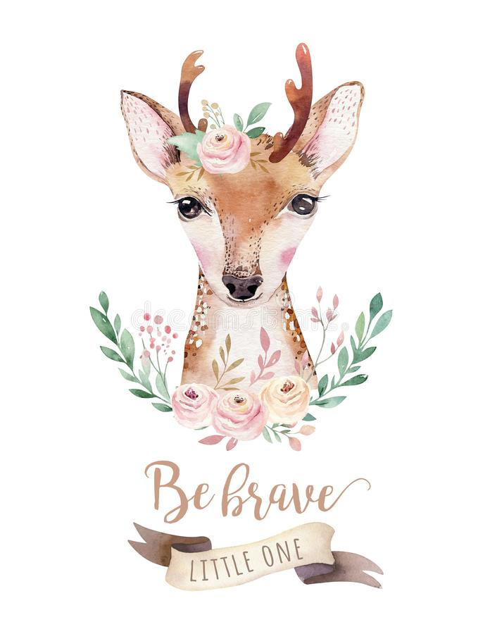 Watercolor cartoon isolated cute baby deer animal with flowers. Forest nursery woodland illustration. Bohemian boho. Watercolor forest cartoon isolated cute baby stock illustration