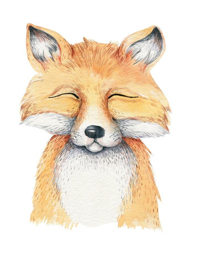 Watercolor cartoon isolated cute baby fox animal with flowers. Forest nursery woodland illustration. Bohemian boho vector illustration