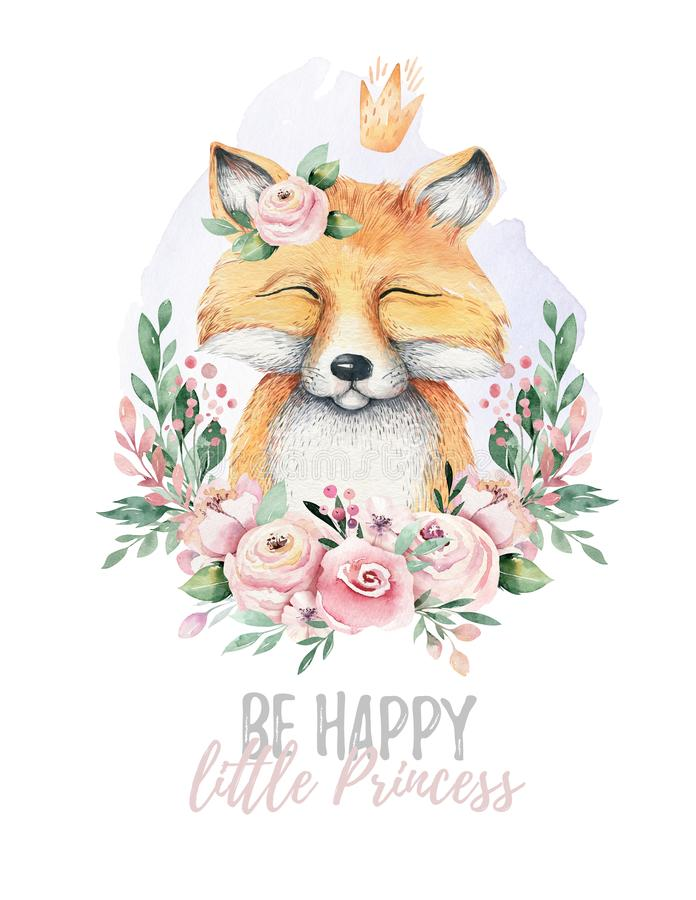 Watercolor cartoon isolated cute baby fox animal with flowers. Forest nursery woodland illustration. Bohemian boho. Drawing for nursery poster, patterns stock illustration