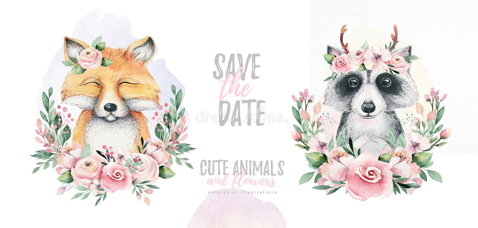 Watercolor cartoon isolated cute baby fox and raccoon animal with flowers. Forest nursery woodland illustration. Watercolor cartoon isolated cute baby fox animal royalty free illustration