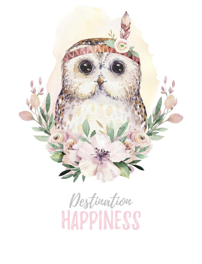 Watercolor cartoon isolated cute baby owl animal with flowers. Forest nursery woodland illustration. Bohemian boho. Drawing for nursery poster, patterns royalty free illustration