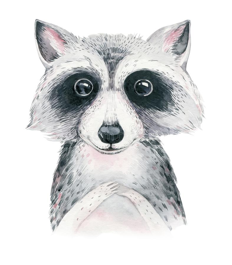 Watercolor cartoon isolated cute baby raccoon animal with flowers. Forest nursery woodland illustration. Bohemian boho. Drawing for nursery poster, patterns stock illustration