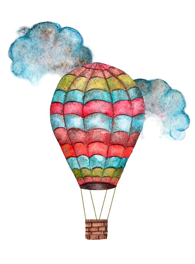 Watercolor cartoon multicolored balloon flying among the clouds stock illustration