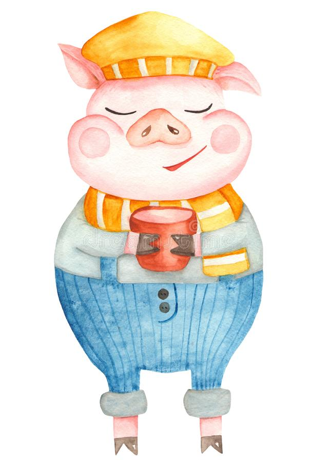 Watercolor cartoon pig. The symbol of the new 2019. royalty free illustration