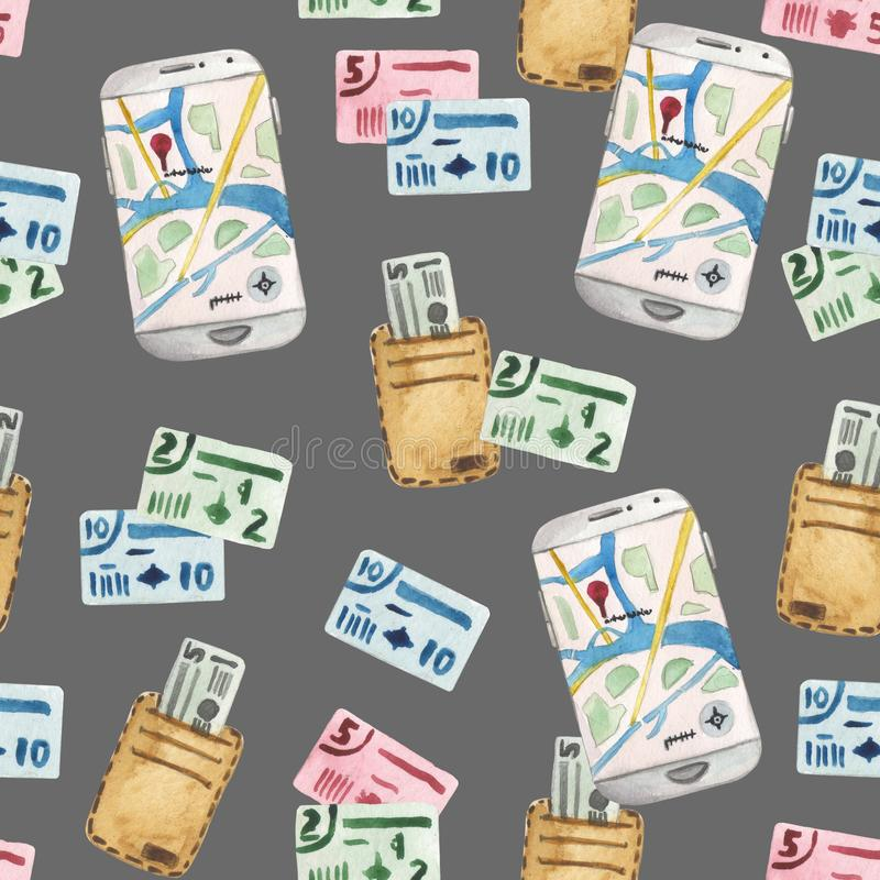 Watercolor cartoon seamless pattern, traveler set smartphone with navigation application,. Money wallet, and foreign currency. Composition on a white background stock illustration