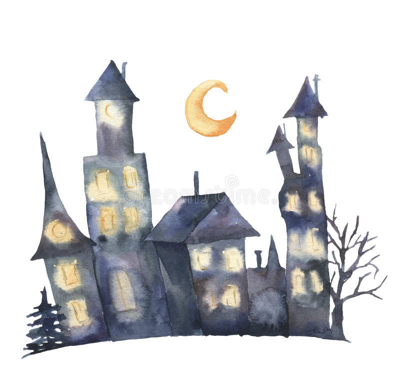 Watercolor castle with glowing windows and moon. Hand painted magic Helloween illustration isolated on white background vector illustration