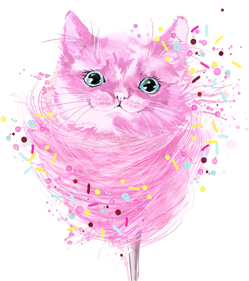 Watercolor cat and candy floss illustration. Funny Cat T-shirt graphics, cat and candy floss illustration. watercolor cat for fashion print, poster for textiles vector illustration