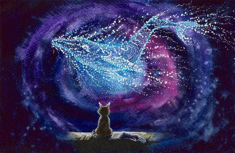 Watercolor cat with starry whale constellation. Watercolor picture of a sitting cat and whale constellation at starry night royalty free illustration