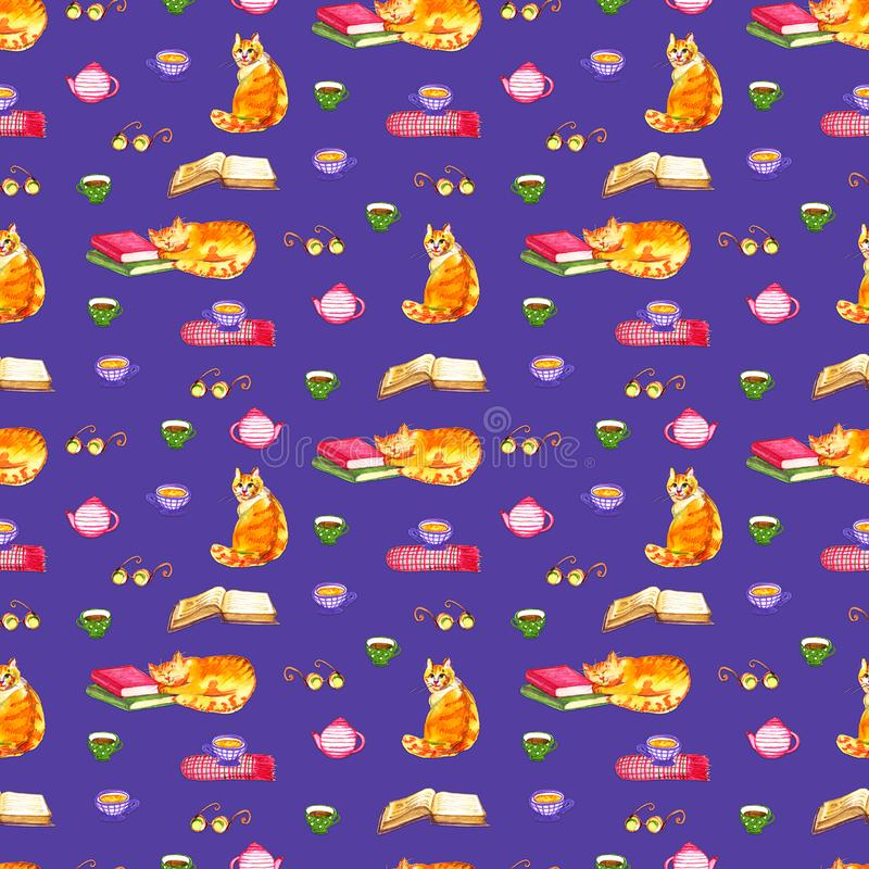 Watercolor cats seamless wallpaper. Cartoon animals children illustration. Emoji violet pattern background. Watercolor cats seamless wallpaper. Cartoon animals stock photography