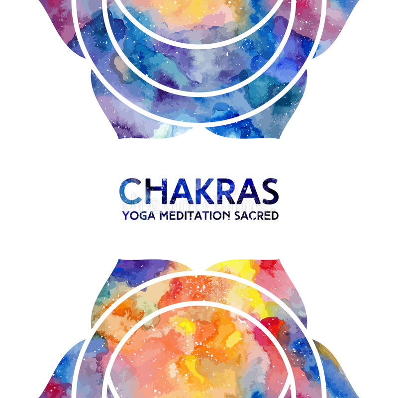 Watercolor chakras background stock illustration