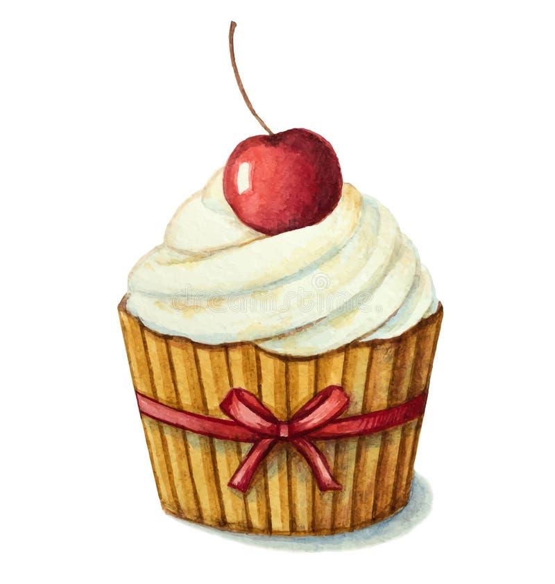 Watercolor cherry muffin stock illustration